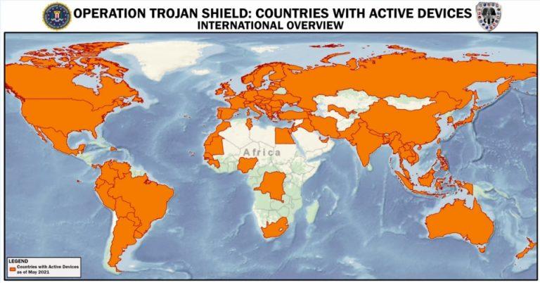 Map of Operation Trojan Shield